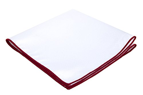 Embroidered Pocket (Jacob Alexander Solid White Pocket Square with Embroidered Edge - Crimson Red)