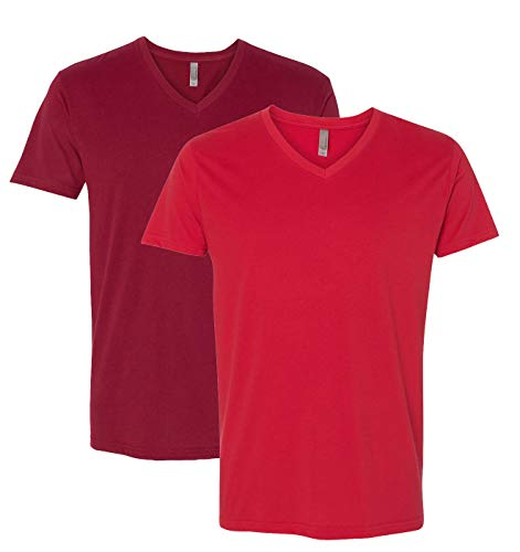 440 Mens Premium Fitted Sueded V-Neck Tee -2 Pack, Cardinal + Red (2 Shirts) - X-Large ()