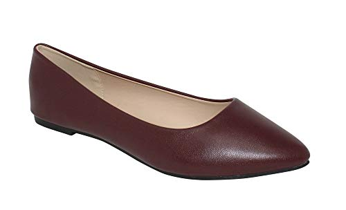Bella Marie Angie-52 Women's Classic Pointy Toe Ballet Slip On Flats Shoes (5.5, Burgundy Pu) (For Flat Ballet Shoes Women)