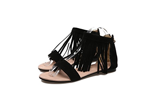 ZHZNVX Hebilla planas de borla nueva primavera y verano con sandalias casuales zapatos de mujer cabeza redonda Black