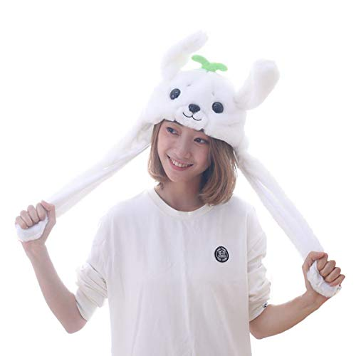 Funny Plush Sea Lion Hat Cap with Airbag Grass Movable Jumping Ears Hat Clothing Costume Accessories TIK Tok DOUYIN Toys Gift Cosplay Halloween Easter Party hat by HYYER