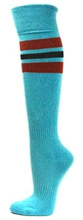 Couver Maroon/Black Strip on Sky Blue Knee High Sports/Softball/Athletic/Baseball Socks, Medium
