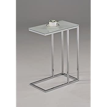 EHomeProducts Contemporary Snack Table With Glass Top, Chrome And Smoked  White
