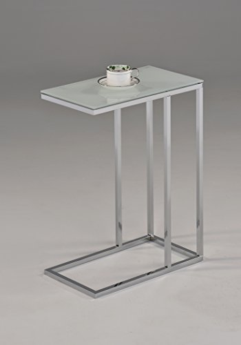 eHomeProducts Contemporary Snack Table with Glass Top, Chrome and Smoked White Contemporary Glass Side Table