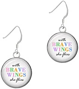 Domed Brave Wings French Earrings