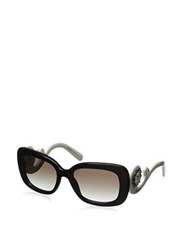 Prada 33PS 2AX0A7 Black and White Ornate 33PS Ornate Square Sunglasses Lens - White Prada Sunglasses And Black