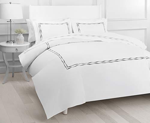 Cotton Sheet Set Emb - 300TC Wavy Stripe Emb Duvet Set KG Charcoal/ Wh