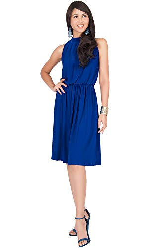 KOH KOH Petite Womens Sleeveless Bridesmaid Halter Neck Flowy Wedding Party Work Knee Length Day Formal Dressy Summer Casual Sexy Sundress Mini Midi Dress Dresses, Cobalt/Royal Blue S 4-6