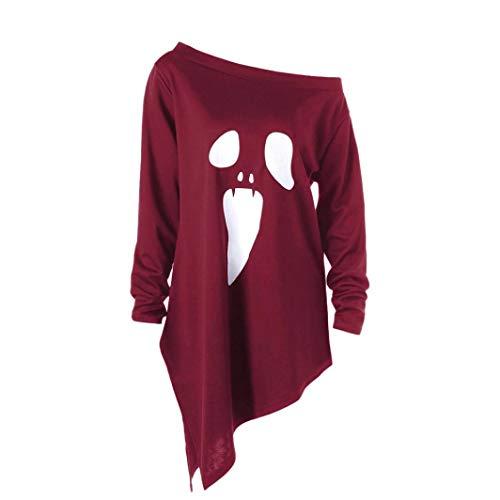 GOVOW Halloween Costumes Long Sleeve for Women Ghost Print Sweatshirt -