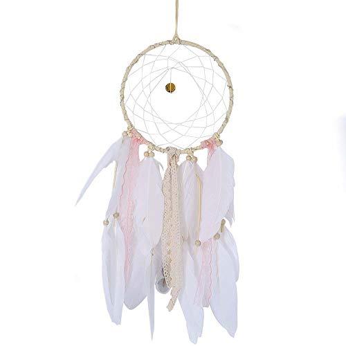 SUKEQ Handmade Feather Dream Catcher, LED Fairy Lights Battery Operated Hanging Ornament Dreamcatcher, Girl Birthday Gift, Wedding Decorations, Nursery Decor (Fairies Handmade)