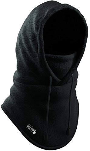 (Balaclava Fleece Hood - Windproof Face Ski Mask - Ultimate Thermal Retention & Moisture Wicking with Performance Soft Fleece Construction, Black, One Size)