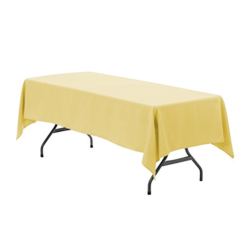 Your Chair Covers - 60 x 102 inch Rectangular Polyester Tablecloth Pastel Yellow, Seamless Premium Wedding Table Cloth for 6 ft Tables