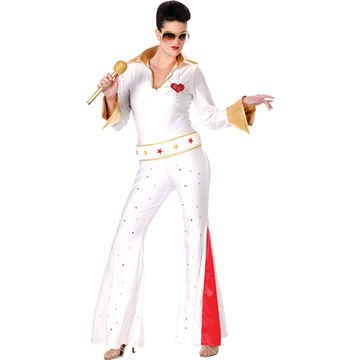 Elvis Female Jumpsuit Adult Costume - Small/Medium (Female Elvis Costume)
