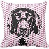 (Valentines German Shorthair Pointer Dog Silhouette Pillow Case)