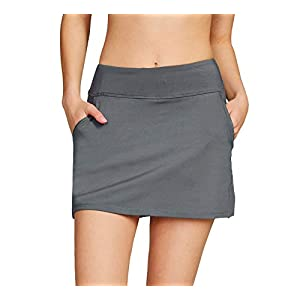 Cityoung Women's Golf Pleated Flat Skort with Pockets Active Running Tennis Athletic Skirt