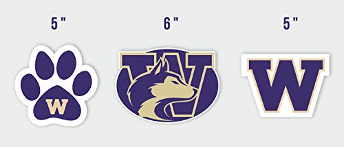 (Set of 3 University of Washington Sticker Vinyl Bumper NCAA Car Truck Huskies Decal Logo Emblem Window Laptop)