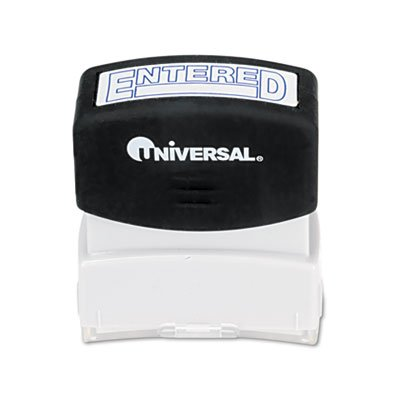 Universal Products - Universal - One-Color Message Stamp, ENTERED, Pre-Inked/Re-Inkable, Blue - Sold As 1 Each - Crisp, clean impression delivered by the microporous ink surface. - Soft-touch grip provides effortless stamping - Flip-open lid prevents acci