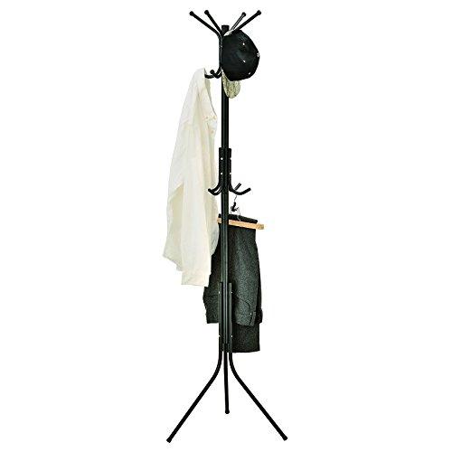 MODERN BLACK COAT HOOK STAND ORGANISER HOLDER JACKETS CLOTHES HATS WITH 12 HOOKS