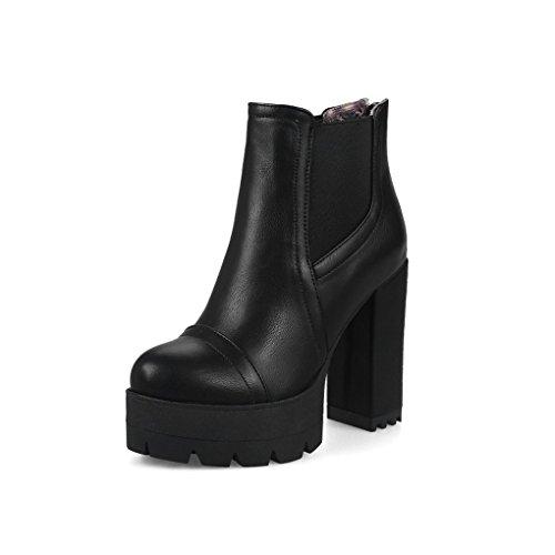 Autumn and Winter Thick Bottom Martin Boots Thick Heel Bare Boots Black D5okZPAq