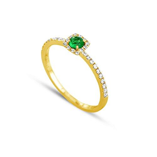 Tousmesbijoux Bague en Or jaune 375/00 diamants et émeraude