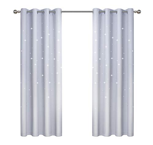 Anjee Cut Out Stars Curtain for Kid's Room, 2 Panels Starry Sky Curtains with Die-Cut Stars, W52 x L63 inches, Greyish White