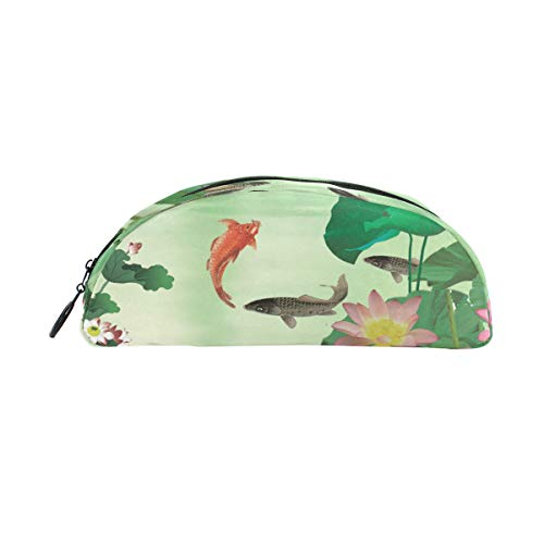 MUOOUM Lotus Pond Fish Koi Pencil Case Semicircle Stationery Pen Bag Pouch Holder for School Office Supplies