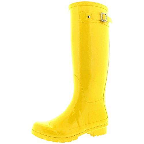 Womens Original Tall Gloss Winter Waterproof Wellies Rain Wellington Boots - 9 - YEL40 BL0044 (Wellies Yellow)