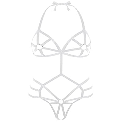 SUNSPICE Sexy One Piece Halter Teddy Lingerie Exotic Strappy Bodysuit Set for Women