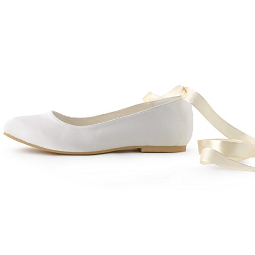 Wedding Tie Toe Shoes Bridal EP11105 Satin Ivory Flats Ribbon ElegantPark Round Women's X8vtq1