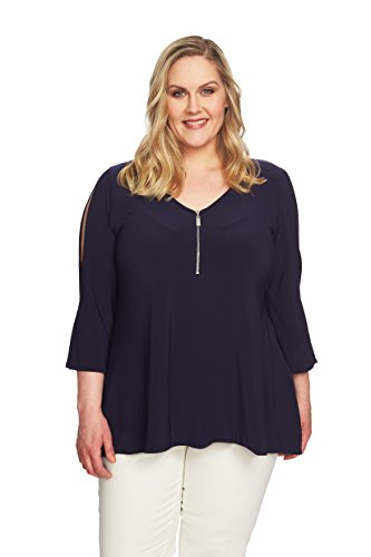 - Chaus New York Plus Size Peekaboo ¾ Length Sleeve Stretch Knit Top with Zipper Front (1XL)