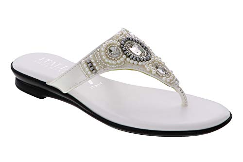 ITALIAN Shoemakers Womens Mystify Thong Sandal (8.5, White)
