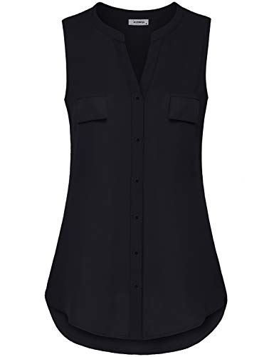 Womens Tank Tops, Womens Notch V-Neck Sleeveless Button Up Dress T Shirts Stylish Airy Breezy Trapeze Chiffon Curved Hem Tunic Blouse Youth Female Clothes Black M Button Down Sleeveless Jersey