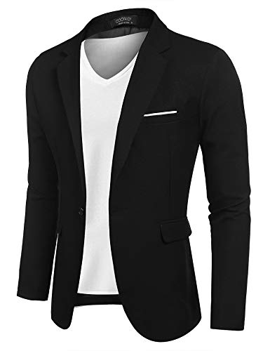 (COOFANDY Men Suit Jacket Linen Slim Fit Sport Coat Business Fashion Daily Blazer)