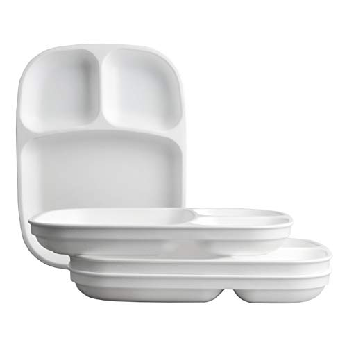 Re-Play Made in USA 4pk White Large Sandwich Divided Plates with Deep Sides and Three Compartments Great for Outdoor, Camping, Party, Tailgating or Everyday ()