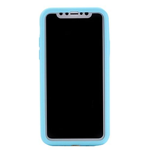 UKCOCO Funda para teléfono Ultra Slim Fit 360 grados Protección completa para el cuerpo Funda resistente a huellas dactilares Suave TPU mate para iPhone X (Blanco) Cielo azul