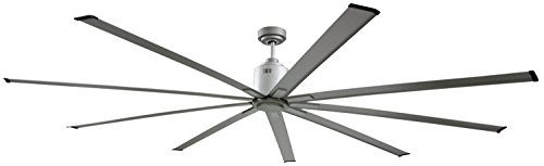 Big Air 96 Inch Industrial Ceiling Fan | Indoor/Outdoor | 6 Speed w/Remote, 14000 CFM, Reversible | | For Commercial or Residential Use (Brushed Nickel) (Best Cfm Ceiling Fan)