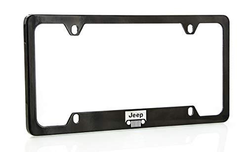 Jeep Logo License Plate Frame Holder (4 Hole/Zinc, Black/Bottom)