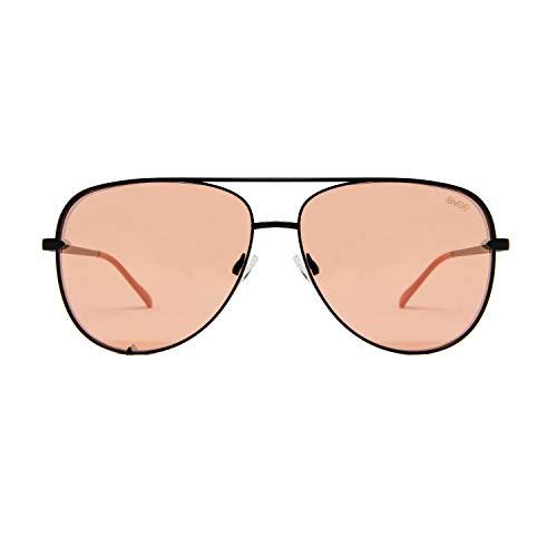 EVEE Fashionable Metal Aviator Sunglasses with Oversize Flat Mirror Lenses (GEMINI) (Matte Black/Pink, 64) (Aviator Small Metal)