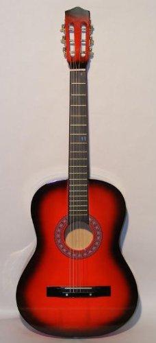 "38"" RED Acoustic Starter Guitar (7/8 Size) & DirectlyCheap(TM) Translucent Blue Medium Guitar Pick"