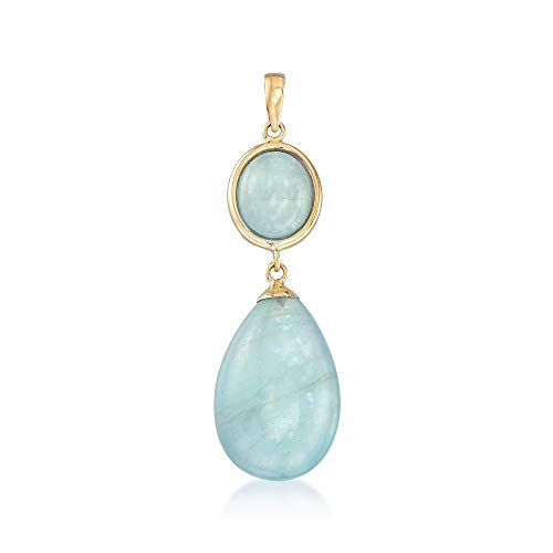 Ross-Simons Milky Aquamarine Pendant in 14kt Yellow Gold