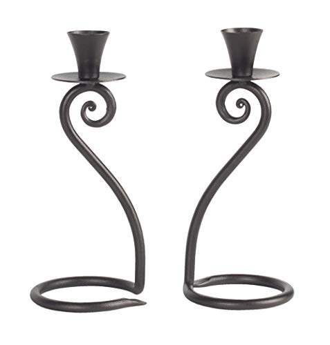 (Large Heart Shaped Candle Holders, Set of 2, Black Wrought Iron Wedding Candlesticks, Shabbat Candlesticks, Taper Candle Holder, Hand Forged by RTZEN-Décor)