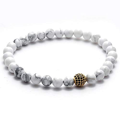 (Stone Beads & Zircon Ball Healing Balance Buddha Bracelet for Women and Men Lava Yoga Reiki Prayer Bijoux Valentine Gift)