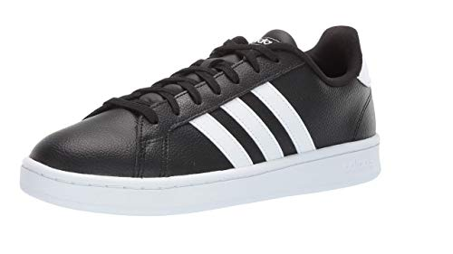adidas Men's Grand Court Running Shoe, Black/White Leather, 12 M US (Best Sneaker Shoes For Men)
