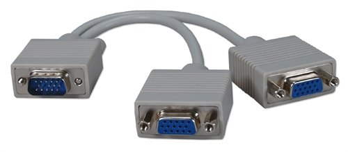 (QVS CC320Y 8 in. HD15 Male to 2 HD15 Female VGA Video Splitter Cable by QVS )