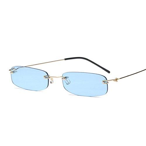 Narrow Sunglasses Tiny Rectangle Rimless Sun Glasses Unisex 2018 Hot Sale (clear blue) ()