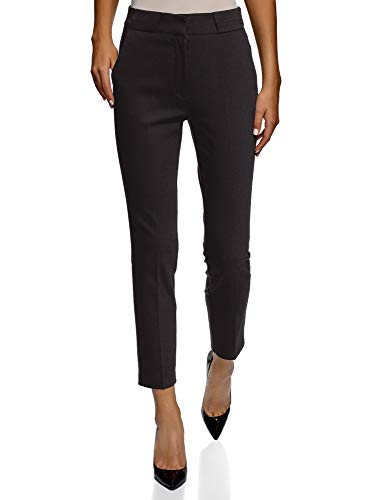 (oodji Collection Women's Slim-Fit Pleated Trousers, Black, 8)