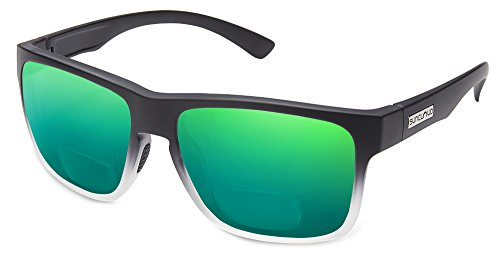 Suncloud Rambler Polarized Bi-Focal Reading Sunglasses in Black Grey Fade/Green Mirror Lens +2.75 by Suncloud