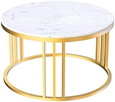 Mesa de Centro Juego de Muebles Redondos Mid-Century de 2 mesitas Grandes y pequeñas Mesita Auxiliar, sobre de mármol, Dorado/Blanco: Amazon.es: Hogar