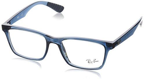 Ray-Ban RX7025 Square Eyeglass Frames, Transparent Grey & Blue/Demo Lens, 53 ()