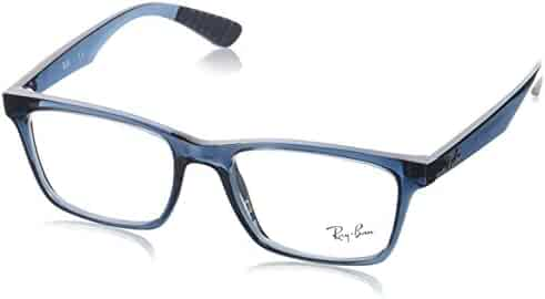 769d1d0e3d Ray-Ban 0rx7025 No Polarization Square Prescription Eyewear Frame  Transparent Grey Blue 55 mm